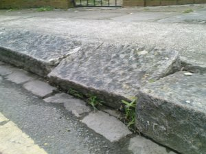 Damaged Curb on Severn Way