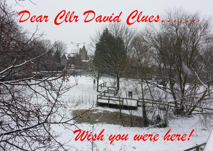 grange in snow postcard
