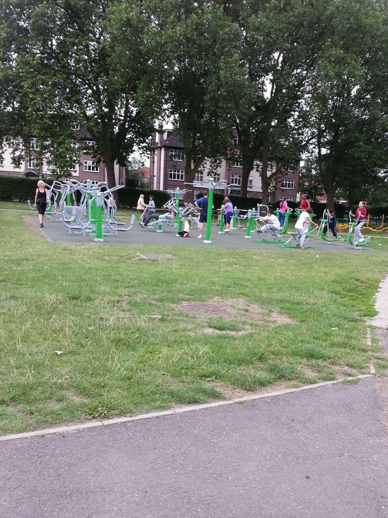 outdoor gyms being used