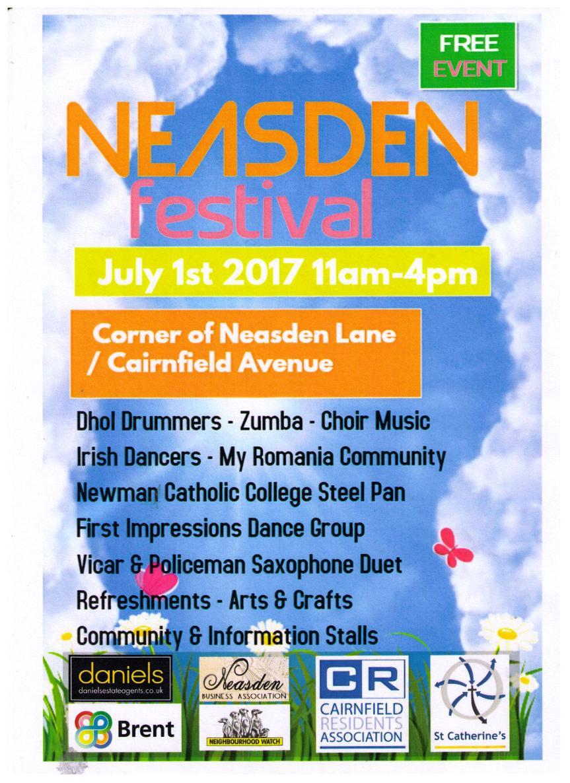 Neasden Festival – Corner of Cairnfield Avenue & Neasden Lane Saturday 1st July 2017: 11am –4pm