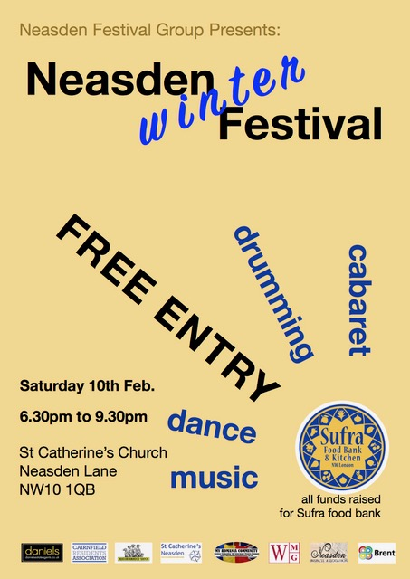 Neasden Winter Festival Saturday 10th February from 6.30pm onwards at St Catherine's Church